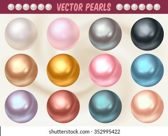 Set of vector pearls made with gradient mesh. Available in different colors.