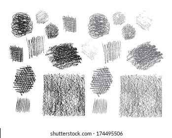 Set of vector pencil hatching