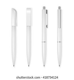 Set of vector pens. Corporate identity and branding stationery templates. Isolated On White Background. Mockup template. Vector EPS10 illustration.