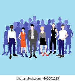 Set of vector people. Characters, team, office people. Vector illustration.