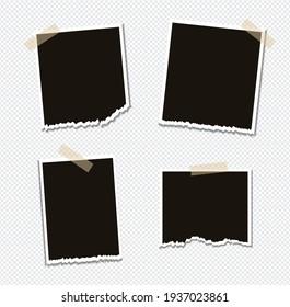 Set of vector Photo frame mockup design on sticky tape isolated on transparent background