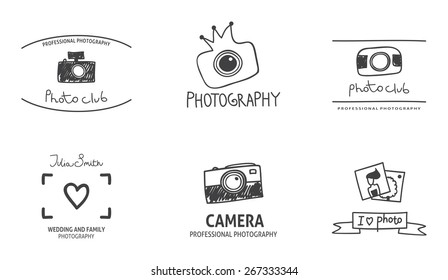 Set of vector photography logos made in sketch style. Photo doodle labels