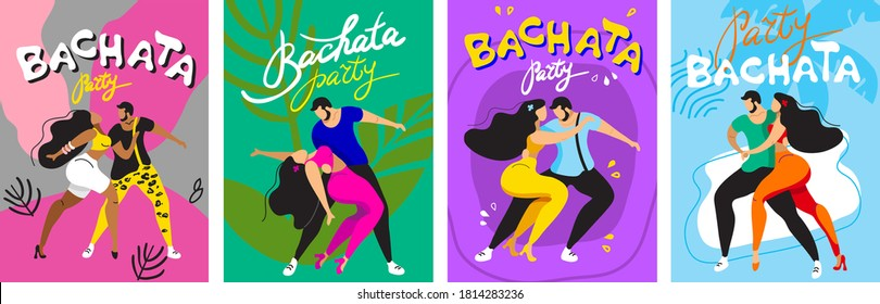 set of vector pictures with dancers. people dance bachata, latin dances. sexy couple dancing sensually.