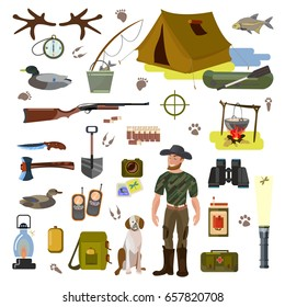 A set of vector pictures on the topic of hunting. Hunter with a dog and a gun, accessories of a hunter and a fisherman. Isolated images of the current color palette