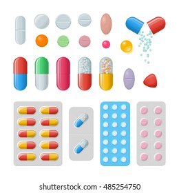 Set of vector pills and capsules. Icons of medicament. Tablets in blisters: painkillers, antibiotics, vitamins and aspirin. Pharmacy and drug symbols. Medical illustration on white background.