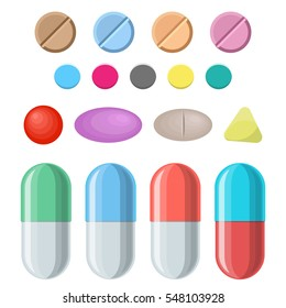 Set of vector pills and capsules. Tablets in blisters, painkillers, antibiotics, vitamins and aspirin. Medical pills icon. vector illustration in flat style