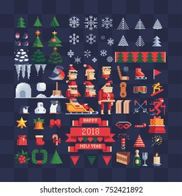 Set of vector pixel art xmas icons. Snowflake, christmas tree, Santa, penguin, bell, wreath, icicle, present bag, ribbon and winter sport elements. 8-bit design sprites collection.