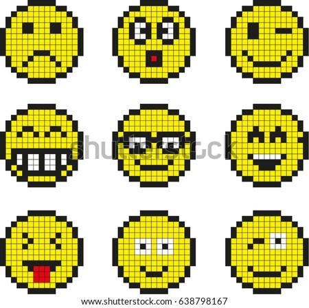 Set Vector Pixel Smileys Stock Vektorgrafik Lizenzfrei 638798167