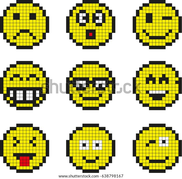Image Vectorielle De Stock De Set Vector Pixel Smileys 638798167
