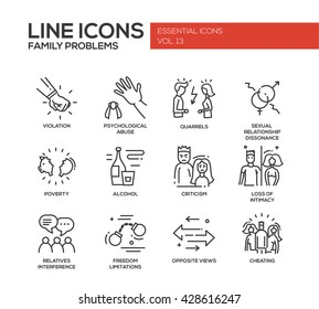 Set of vector plain line design icons and pictograms of family problems. Violation, psychological abuse, quarrels, poverty, alcohol, criticism, loss of intimacy, relatives interference, cheating