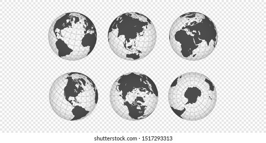 Set vector planet Earth. World realistic globe of continents
