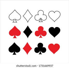 Set of vector playing card symbols. Poker card suits - hearts, clubs, spades and diamonds - on white background.
