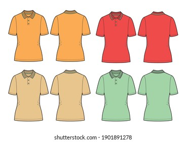 Set of vector polo shirt. Women's shirt template isolated on white background. Orange, red, beige and mint models