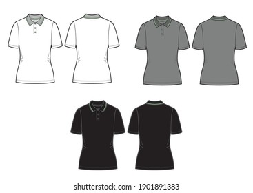 Set of vector polo shirt. Women's shirt template isolated on white background. White, grey and black models