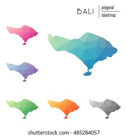 Set of vector polygonal Bali maps filled with bright gradient of low poly art. Multicolored polygonal Bali maps in geometric style for your infographics.