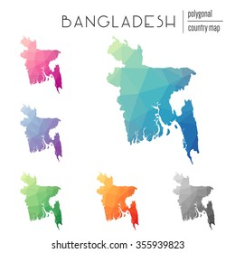 Set of vector polygonal Bangladesh maps. Bright gradient map of country in low poly style. Multicolored country map in geometric style for your infographics