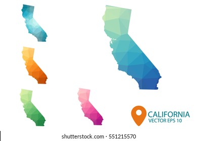 Set of vector polygonal California state maps. Bright gradient map of country in low poly style. Multicolored country map in geometric style for your infographics. Vector illustration eps 10.
