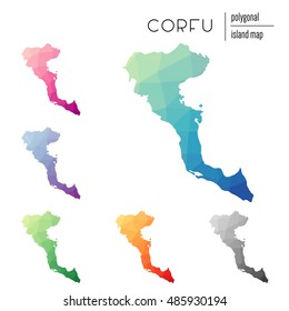 Set of vector polygonal Corfu maps filled with bright gradient of low poly art. Multicolored polygonal Corfu maps in geometric style for your infographics.