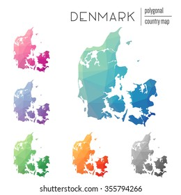 Set of vector polygonal Denmark maps. Bright gradient map of country in low poly style. Multicolored country map in geometric style for your infographics