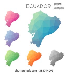 Set of vector polygonal Ecuador maps. Bright gradient map of country in low poly style. Multicolored country map in geometric style for your infographics