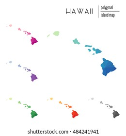 Set of vector polygonal Hawaii maps filled with bright gradient of low poly art. Multicolored polygonal Hawaii maps in geometric style for your infographics.