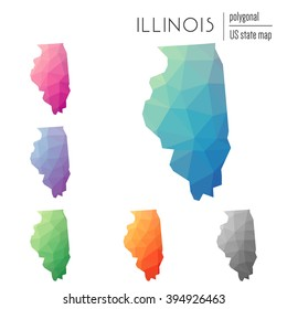 Set of vector polygonal Illinois maps. Bright gradient Illinois map in low poly style. Multicolored Illinois map in geometric style for your infographics.
