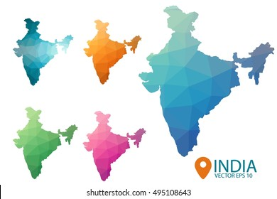 Set of vector polygonal India maps. Bright gradient country in low poly style. Multicolored country map in geometric style for your infographics