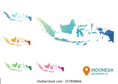 Set of vector polygonal Indonesia maps. Bright gradient map of country in low poly style. Multicolored country map in geometric style your for infographics. Vector illustration eps 10.