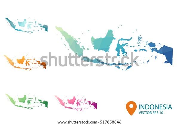 Joukko Vektori Monikulmainen Indonesia Karttoja Kirkas