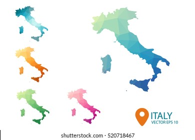 Set of vector polygonal Italy maps. Bright gradient map of country in low poly style. Multicolored country in geometric style for your infographic. Vector illustration eps 10.