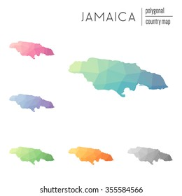 Set of vector polygonal Jamaica maps. Bright gradient map of country in low poly style. Multicolored country map in geometric style for your infographics