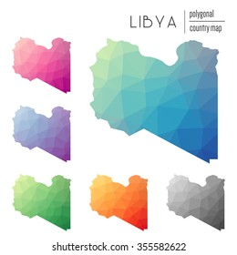 Set of vector polygonal Libya maps. Bright gradient map of country in low poly style. Multicolored country map in geometric style for your infographics