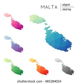 Set of vector polygonal Malta maps filled with bright gradient of low poly art. Multicolored polygonal Malta maps in geometric style for your infographics.
