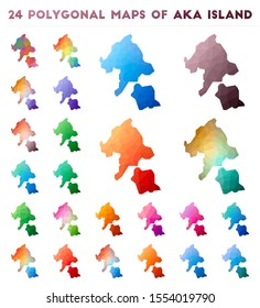 Set of vector polygonal maps of Aka Island. Bright gradient map in low poly style. Multicolored Aka Island map in geometric style for your infographics.