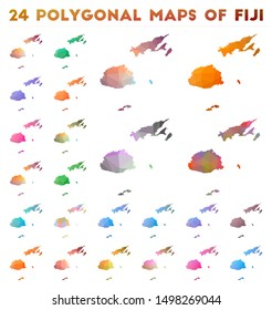 Set of vector polygonal maps of Fiji. Bright gradient map of country in low poly style. Multicolored Fiji map in geometric style for your infographics.