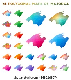 Set of vector polygonal maps of Majorca. Bright gradient map of island in low poly style. Multicolored Majorca map in geometric style for your infographics.