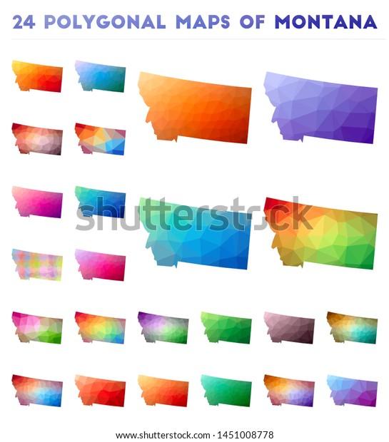Set Vector Polygonal Maps Montana Bright Stock Vector ...