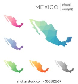 Set of vector polygonal Mexico maps. Bright gradient map of country in low poly style. Multicolored country map in geometric style for your infographics