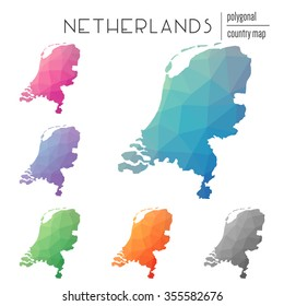 Set of vector polygonal Netherlands maps. Bright gradient map of country in low poly style. Multicolored country map in geometric style for your infographics