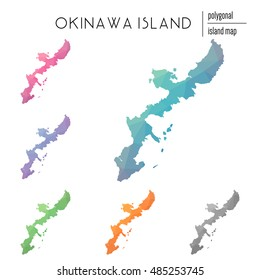 Set of vector polygonal Okinawa Island maps filled with bright gradient of low poly art. Multicolored polygonal Okinawa Island maps in geometric style for your infographics.