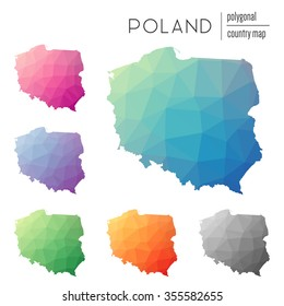 Set of vector polygonal Poland maps. Bright gradient map of country in low poly style. Multicolored country map in geometric style for your infographics