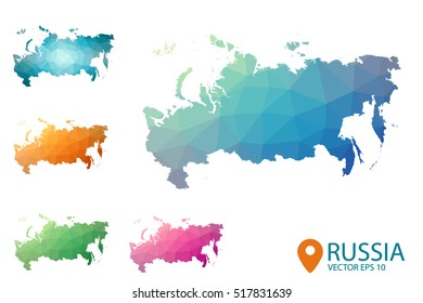 Set of vector polygonal Russia maps. Bright gradient map of country in low poly style. Multicolored country map in geometric style for your infographics