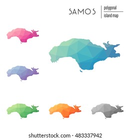 Set of vector polygonal Samos maps filled with bright gradient of low poly art. Multicolored polygonal Samos maps in geometric style for your infographics.