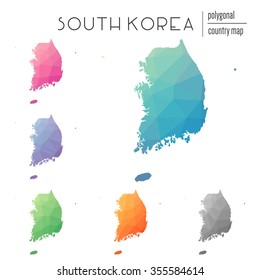 Set of vector polygonal South Korea maps. Bright gradient map of country in low poly style. Multicolored country map in geometric style for your infographics