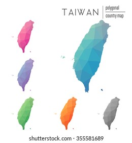 Set of vector polygonal Taiwan maps. Bright gradient map of country in low poly style. Multicolored country map in geometric style for your infographics