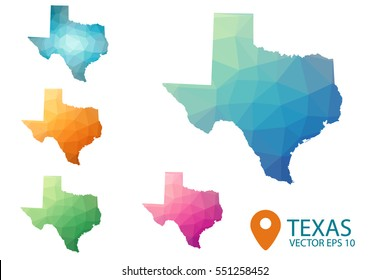 Set of vector polygonal Texas state maps. Bright gradient map of country in low poly style. Multicolored country map in geometric style for your infographics. Vector illustration eps 10.