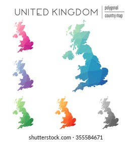 Set of vector polygonal United Kingdom maps. Bright gradient map of country in low poly style. Multicolored country map in geometric style for your infographics