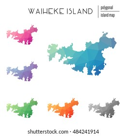 Set of vector polygonal Waiheke Island maps filled with bright gradient of low poly art. Multicolored polygonal Waiheke Island maps in geometric style for your infographics.