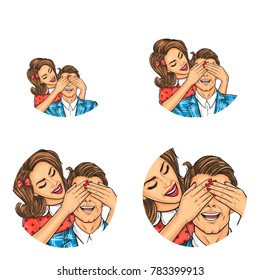 Set of vector pop art round avatar icons for users of social networking, blogs, profile icons. Adult brunette man and woman standing behind him and covering his eyes with her hands, surprise