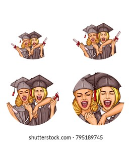 Set of vector pop art round avatar ,profile icons for users of social networking, blogs. Two excited girls students celebrating graduation party holding diplomas in mantle, cap. Isolated illustration